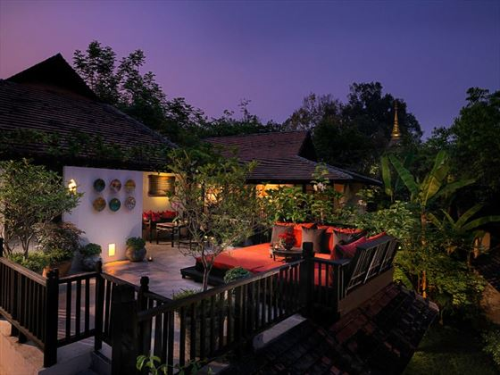 Private Terrace at The Spa Suite at Tamarind Village Chiang Mai
