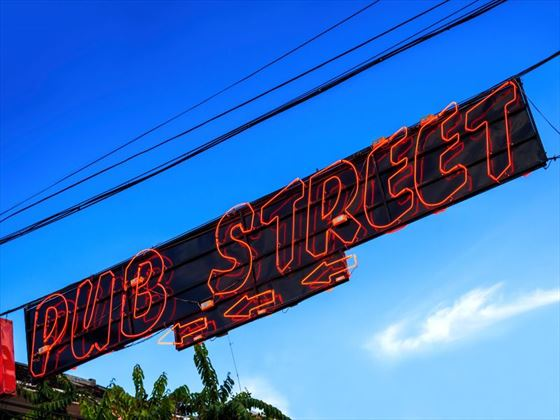 The famous Pub Street sign in Siem Reap