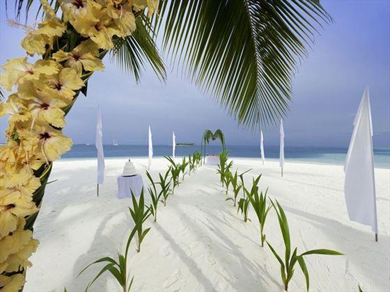 Venue for the beach blessing at onrad Maldives Rangali Island
