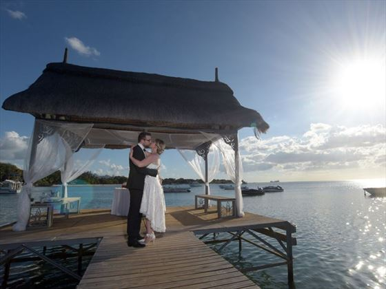 Bride & Groom on the jetty at The Ravenala