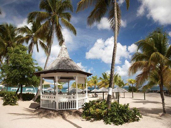 Beachfront wedding setting