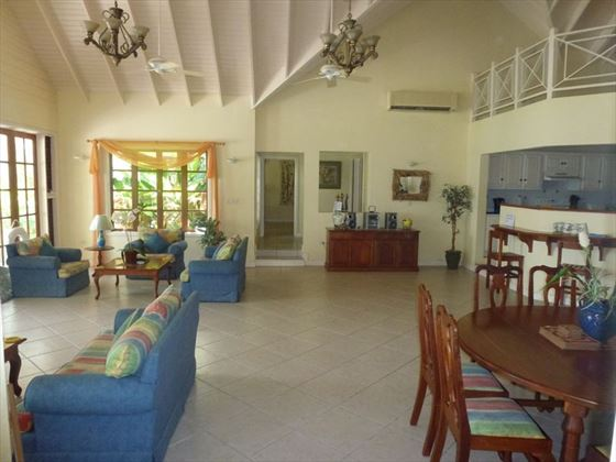 The spacious living and dining area