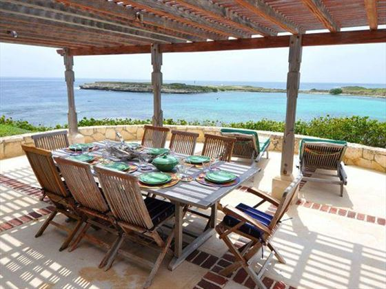Al fresco dining with a view of the Caribbean
