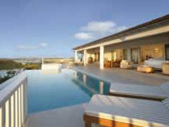 The stunning terrace and pool