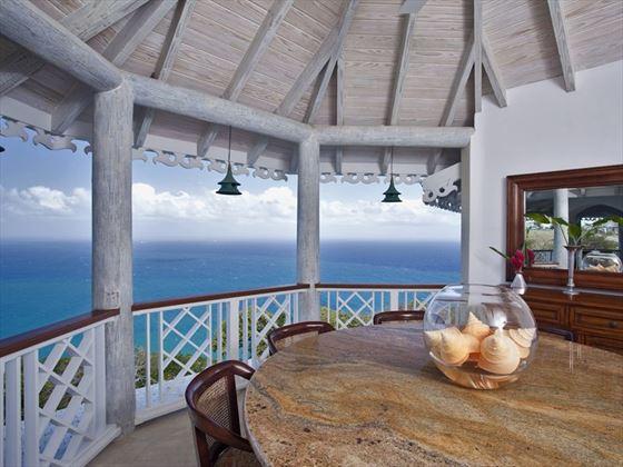 Dining veranda with sea views