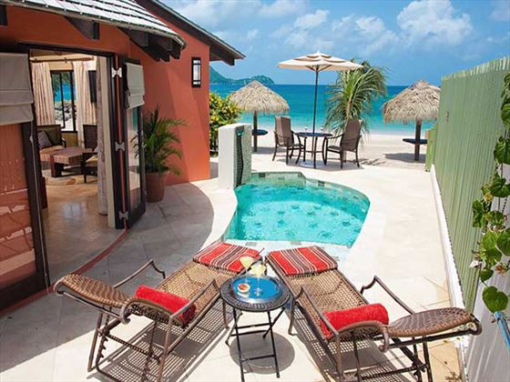 Rondoval Suite private plunge pool at Sandals Grande St Lucian Spa & Beach Resort