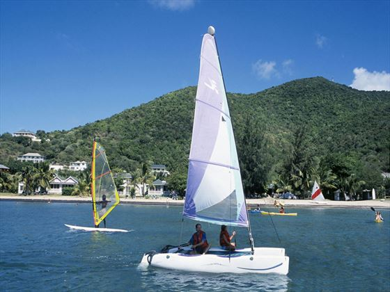 Sailing activities at Oualie Beach Resort