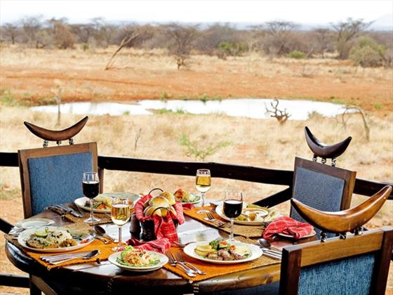 Samburu Sopa Lodge dinner by the watering hole