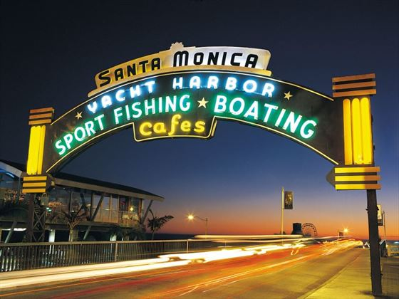 Santa Monica Harbour at night