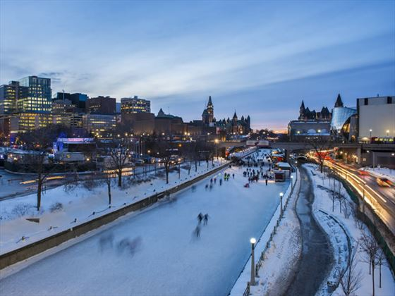 Ice skaters on the Rideau Canal Skateway in winter, Ottawa