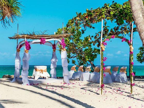 Tropical beachfront wedding