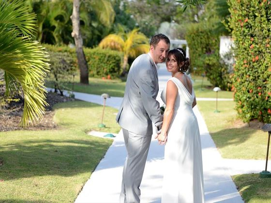 Wedding couple in the gardens at Spice Island