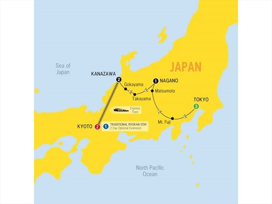 Splendours of Japan Map