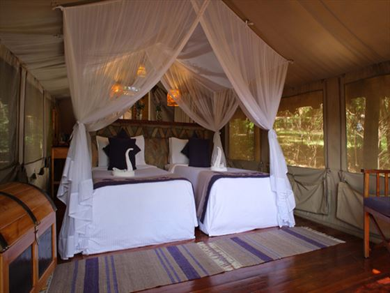 Standard tent interior at Mara Sarova