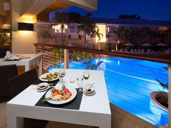Umi restaurant overlooking the pool