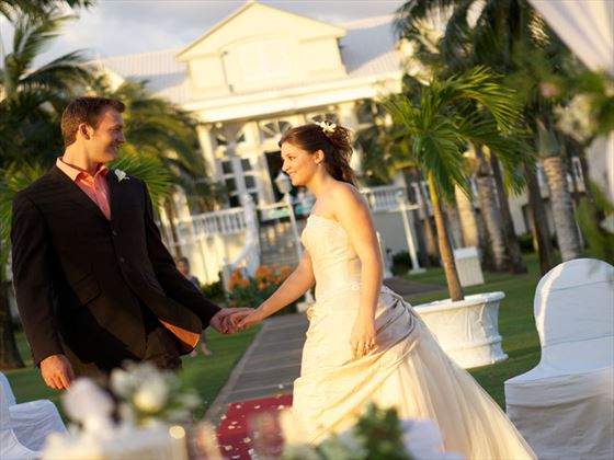 Bride & Groom at the Sugar Beach, Mauritius