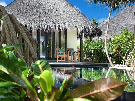 The Sun Siyam Iru Fushi Family Deluxe Beach Villa with Pool