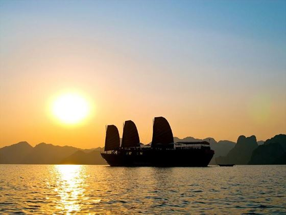 Sunset in Halong Bay, Indochina Sails