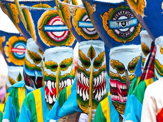 Thai ghost masks at a festival