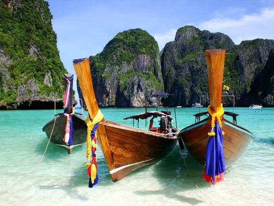 Thai longboats in Krabi, Thailand