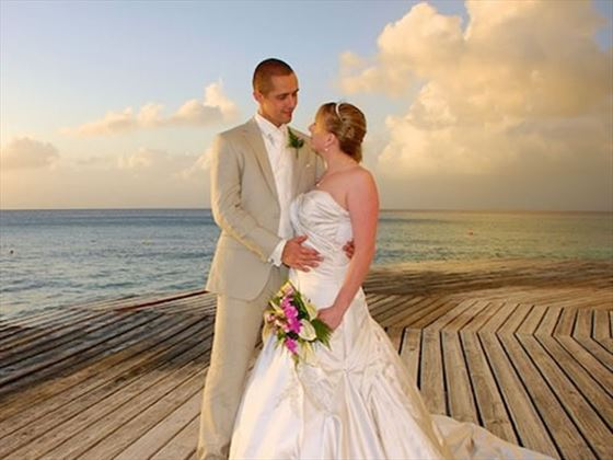 Couple on the oceanfront deck