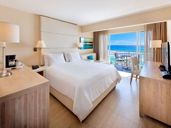 The SoCo Hotel bedroom and ocean views