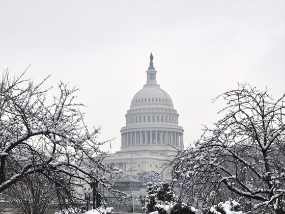 The US Capitol Building in the snow