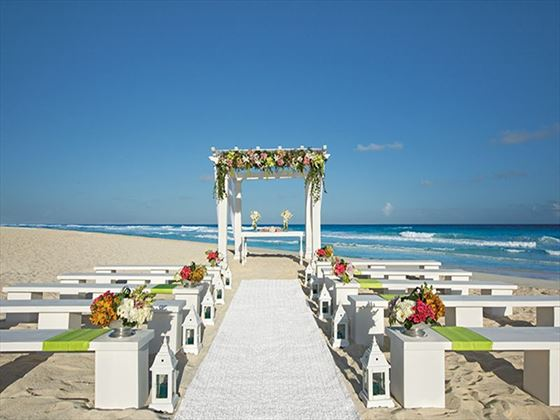 The beach at Secrets The Vine offers couples a picturesque setting ideal for a ceremony