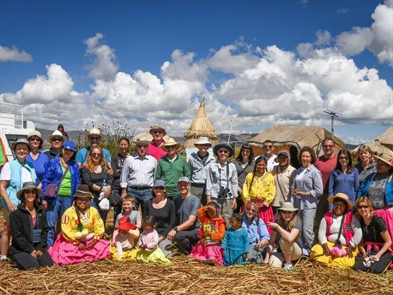 Tour group at Lake Titicaca