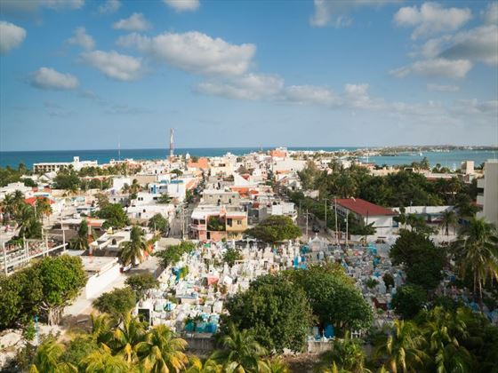 Town skyline in Isla Mujeres