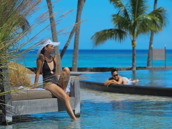 Relaxing at the Trou Aux Biches main pool