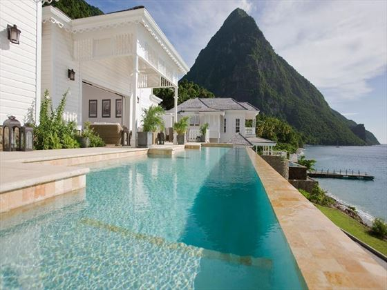 View of the Pitons from the pool at Sugar Beach