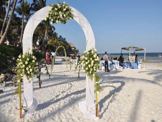 A wedding ceremony at Voyager Beach Resort