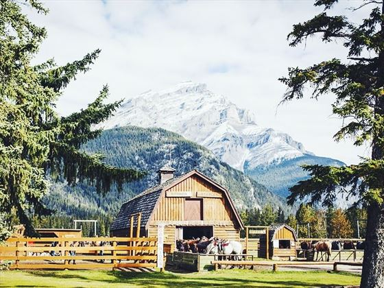 Warner Stables against the backdrop of Banff National Park