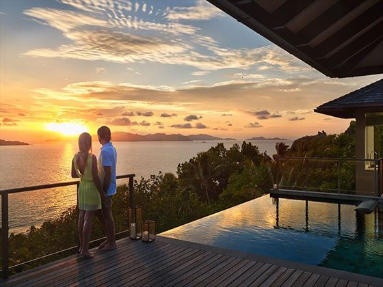 Watching the sunset over Six Senses Zil Pasyon