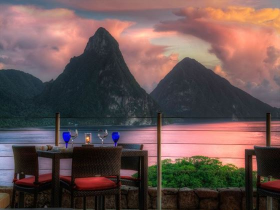 Watching the sunset over the Pitons from Jade Mountain