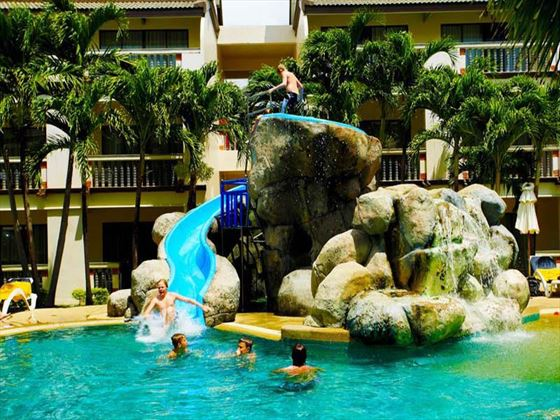 Water slides in the main pool at Centara Kata Resort