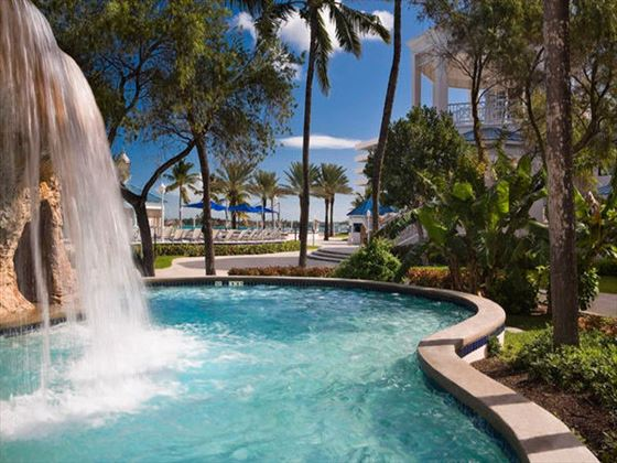 Waterfalls in the pool at Melia Nassau Beach