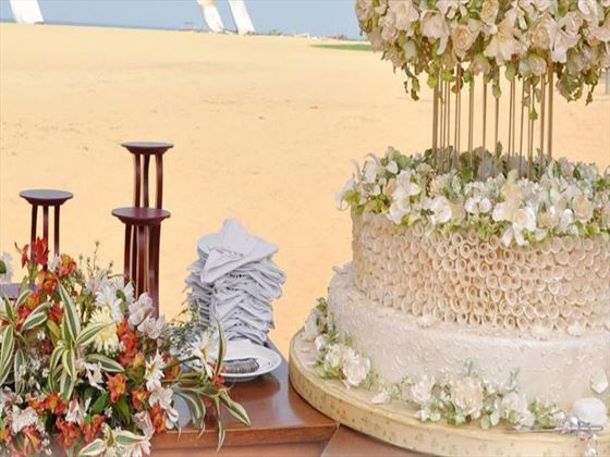 Wedding cake and tropical flowers