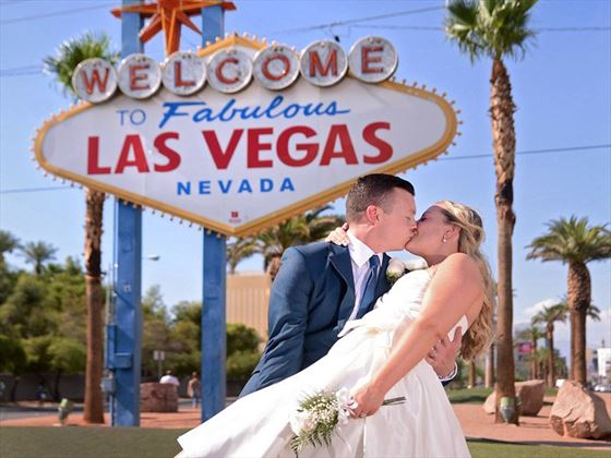 Bride & Groom with the Las Vegas sign, available with the Premier Wedding