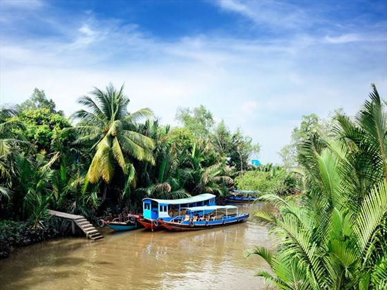 Wooden boats on the Mekong Delta
