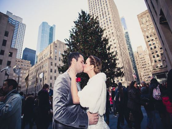 Romance in New York at the Rockefeller Christmas Tree
