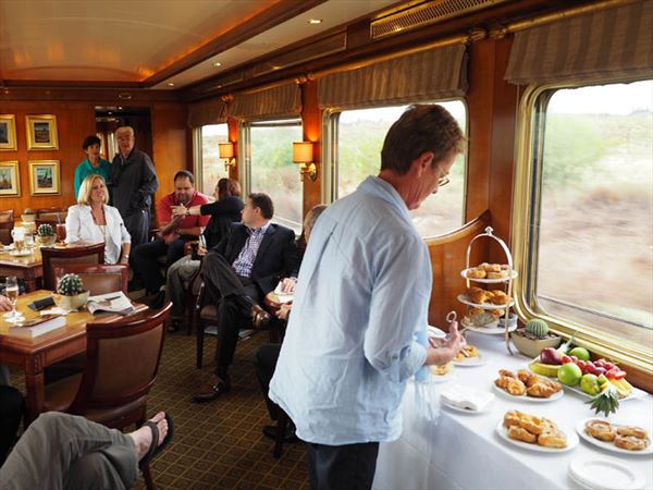 enjoying afternoon tea on the blue train