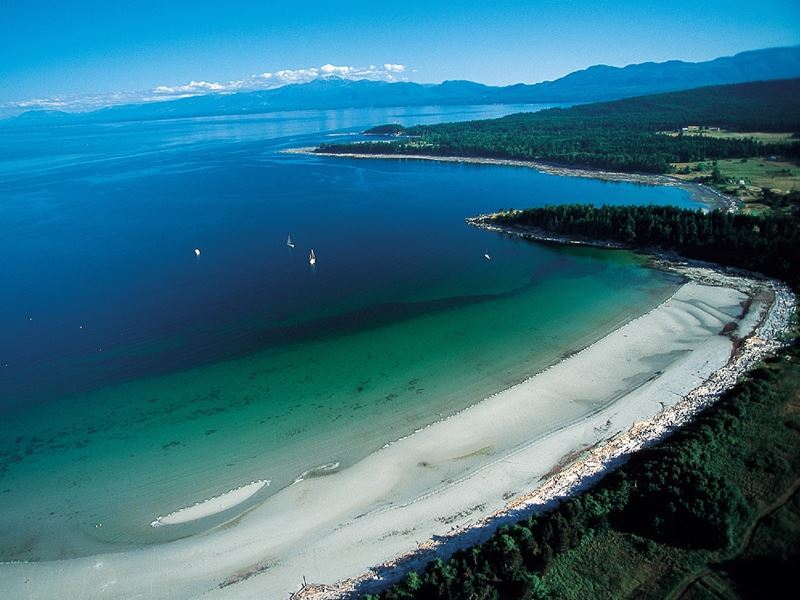 aerial view hornby island british columbia