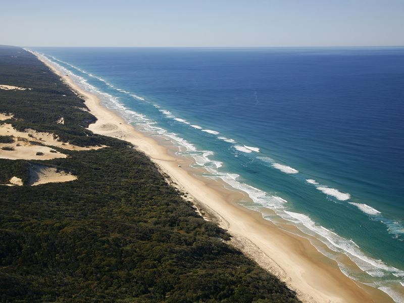 aerial view of fraser island coast