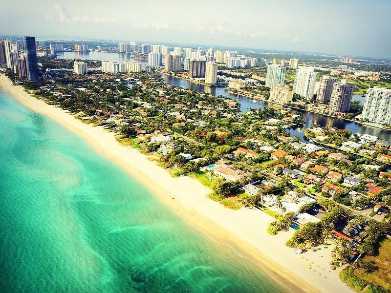 aerial view of south beach in miami