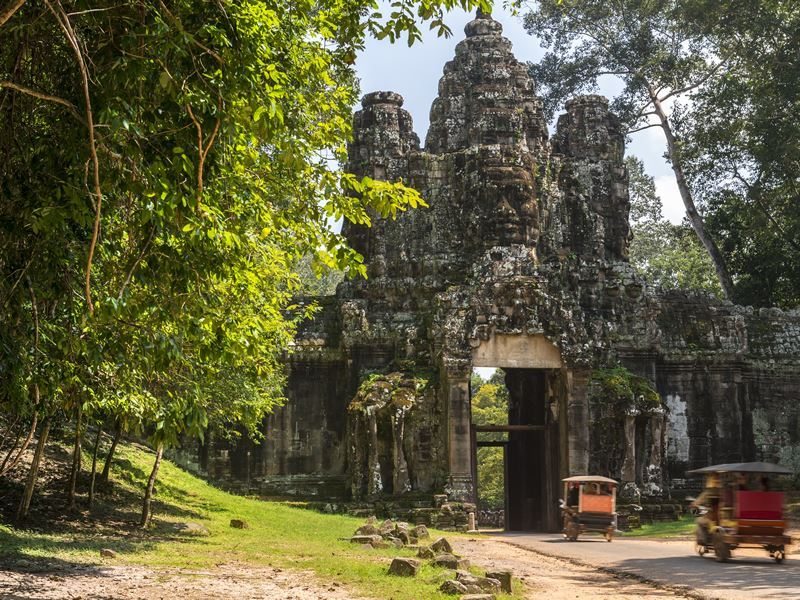 Ancient gate leading to Angkor Thom