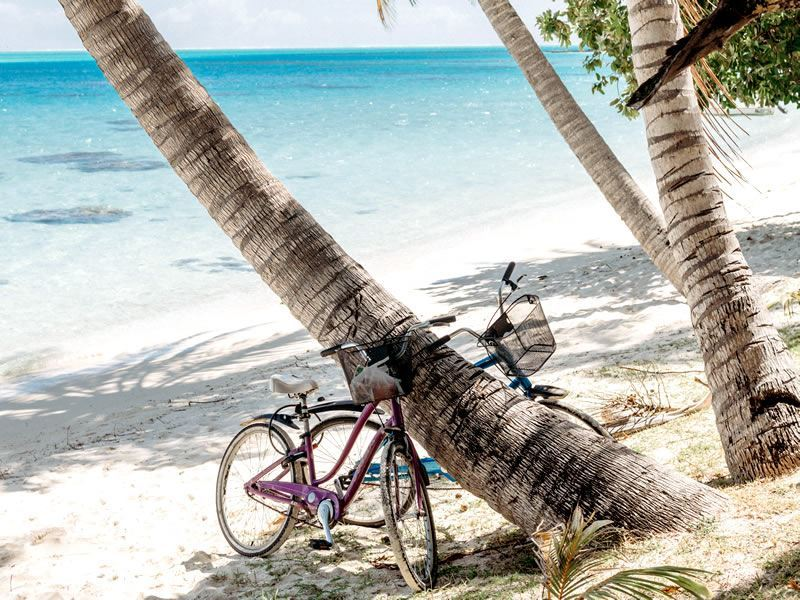 Bikes on the beach in Tahiti