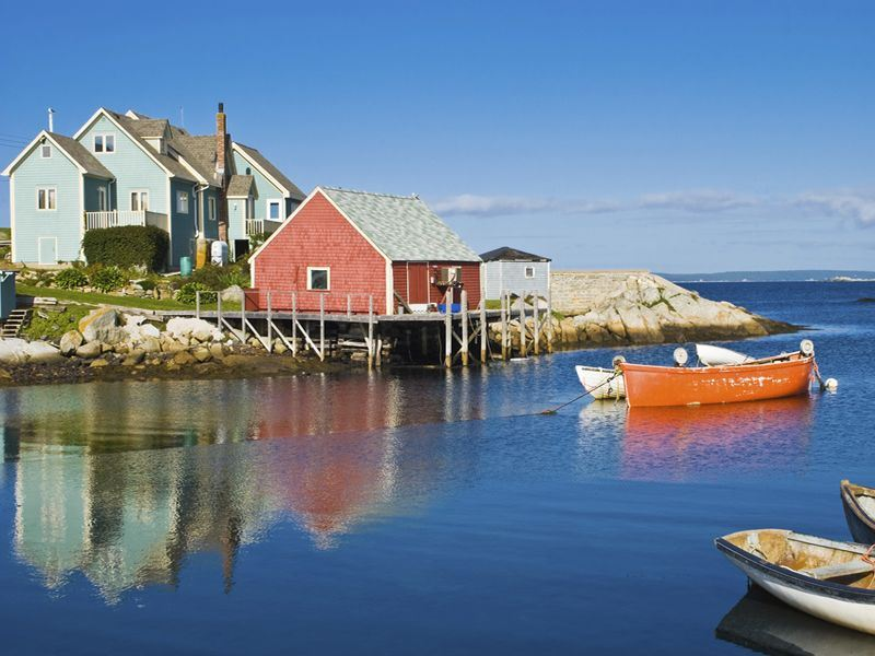 boats at peggys cove nova scotia