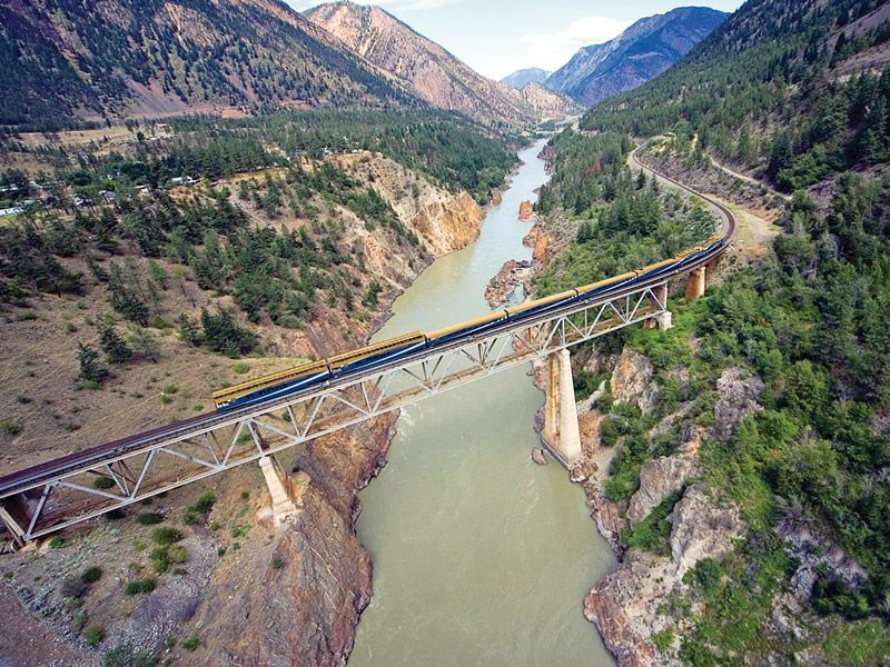 Rocky Mountaineer train crossing the Fraser River in British Columbia